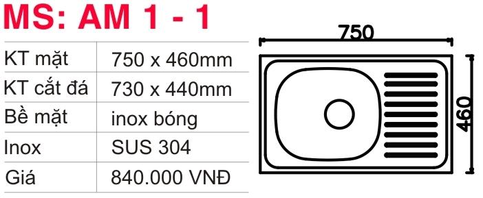 Chậu rửa inox Toàn Mỹ AM1-1
